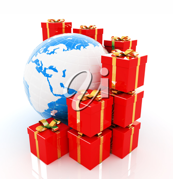 Traditional Christmas gifts and earth on a white background. Global holiday concept