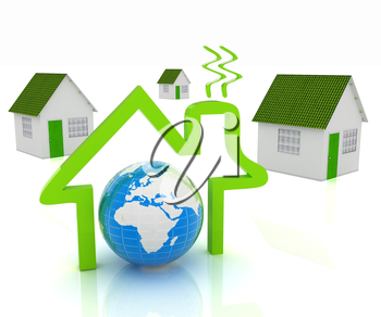 3d green house, earth and icon house on white background