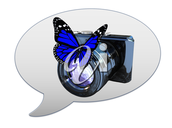 messenger window icon and photographic camera and butterfly