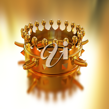 Gold crown isolated on gold background