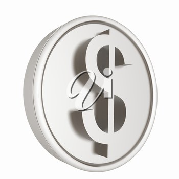 Metall coin with dollar sign