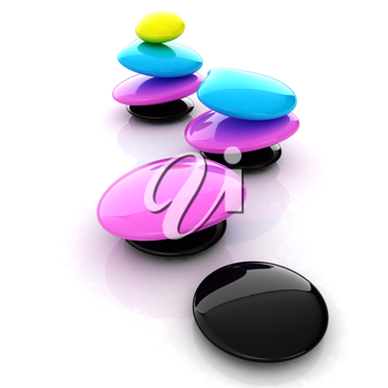 Colorfull spa stones. 3d icon