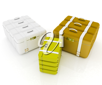 travel bags on white