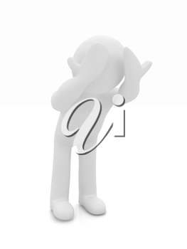 3d personage with hands on face on white background. Series: human emotions