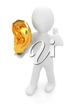 3d man with ear gold 3d render isolated on white background