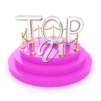 Top icon on podium on white background. 3d rendered image