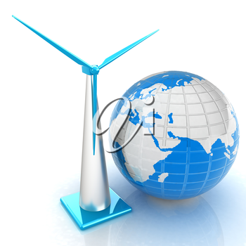 Wind turbine isolated on white. Global concept with eart