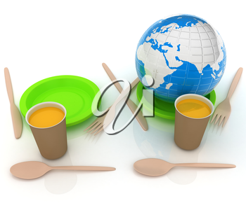 Orange juice in a fast food dishes and earth