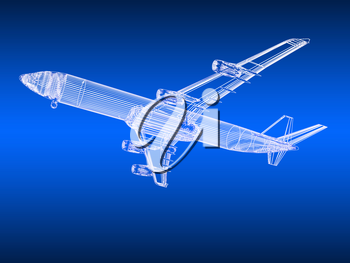 3d model Flying airplane on gradient background