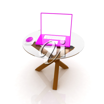 pink laptop on an exclusive table on a white background