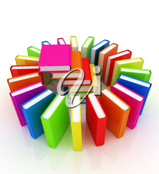 Colorful books on a white background