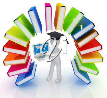 Colorful books like the rainbow and 3d man in a graduation hat with laptop on a white background