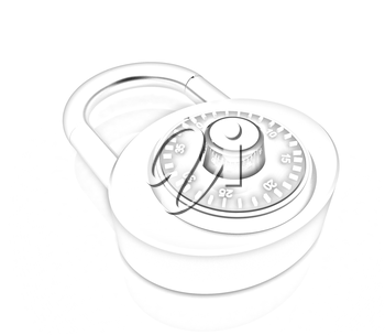 Illustration of security concept with chrome locked combination pad lock on a white background