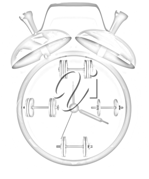Alarm clock icon with dumbbells. Sport concept on a white background