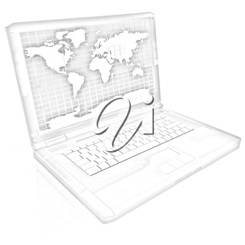 Laptop with world map on screen on a white background