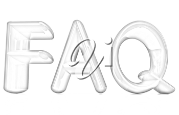 FAQ 3d red text on a white background