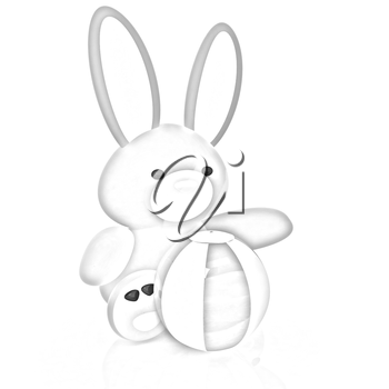 soft toy hare and colorful aquatic ball on a white background