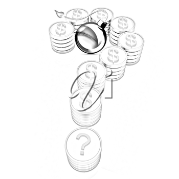 Question mark in the form of gold coins with dollar sign and black bomb burning on a white background