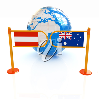 Three-dimensional image of the turnstile and flags of Australia and Austria on a white background