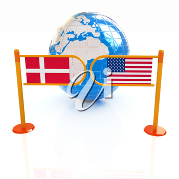 Three-dimensional image of the turnstile and flags of Denmark and USA on a white background