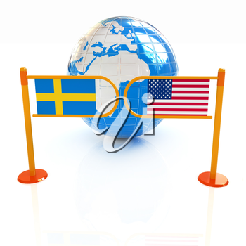 Three-dimensional image of the turnstile and flags of USA and Sweden on a white background