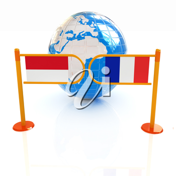 Three-dimensional image of the turnstile and flags of France and Monaco on a white background
