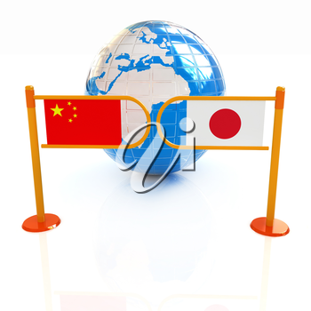 Three-dimensional image of the turnstile and flags of China and Japan on a white background