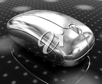 3d chrome mouse on a fantastic festive dark background
