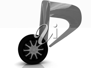 note is car-wheel on a white