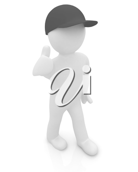 3d man in a red peaked cap with thumb up on a white background