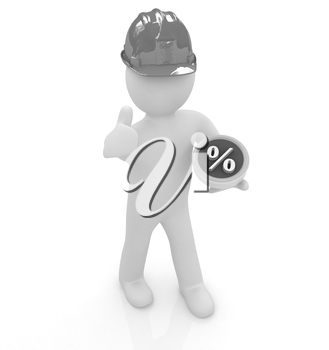 3d man in a hard hat with thumb up presents best percent on a white background