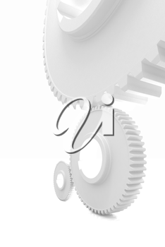 White background consisting of bright gears and arrows.The concept of motion