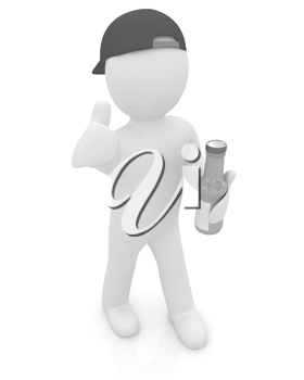 3d man with a water bottle with clean blue water on a white background