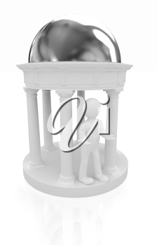 3d man and rotunda on a white background