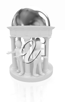 3d mans in rotunda on a white background