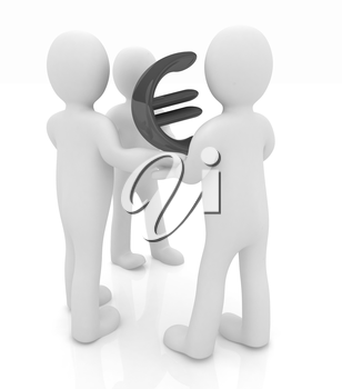 3D mans with Euro sign on a white background