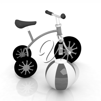 children's bike with colorful aquatic ball on white background