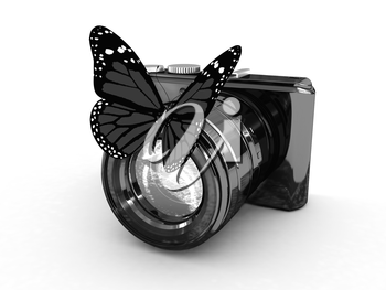 3d illustration of photographic camera and butterfly on white background