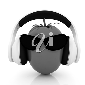 tomato with sun glass and headphones front face on a white background
