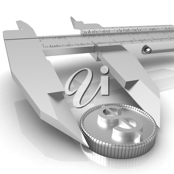 Vernier calipers with coin isolated over white background