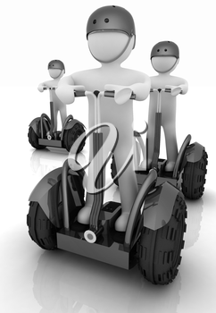 3d white persons riding on a personal and ecological transports.3d image.
