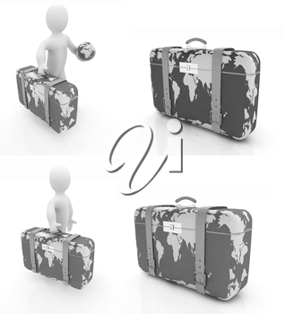 Suitcase for travel set on a white background