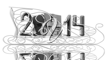 Abstract 3d illustration of text 2014 with present box on a gold sledge