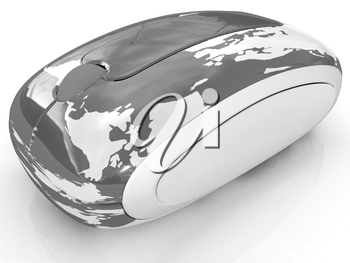 Globe Earth On line on a white background