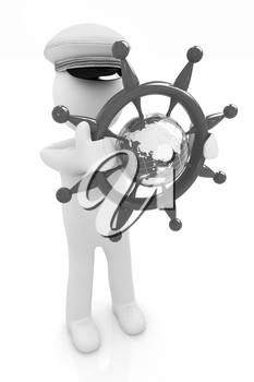 Sailor with steering wheel and earth. Trip around the world concept on a white background