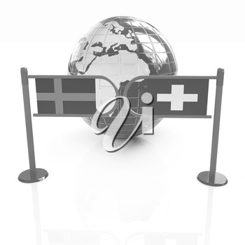 Three-dimensional image of the turnstile and flags of Switzerland and Sweden on a white background