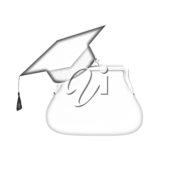 money bags education hat sign illustration design over white