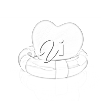 Heart and life belt. Concept of life-saving