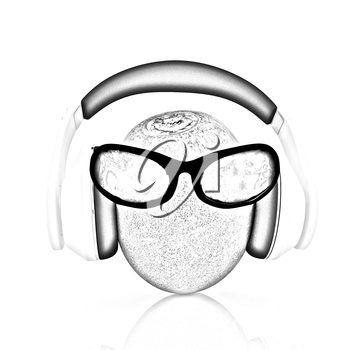 kiwi with sun glass and headphones front face on a white background
