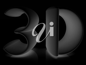 3d text on a black background
